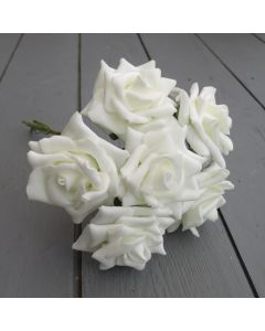 Artificial Ivory Colourfast Foam Rose Bunch