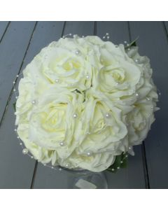 Artificial Large Ivory Rose and Pearl Bridal Bouquets