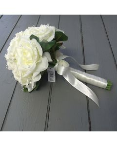 Artificial Medium Ivory Rose and Pearl Bridal Bouquets