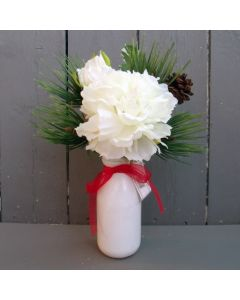 Artificial Ivory Peony and Festive Foliage in Bottle Vase