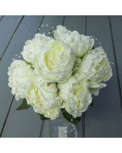 Artificial Ivory Peony Bridal Bouquets with Pearls