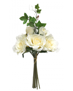 42cm Artificial Ivory Rose and Foliage Bunch