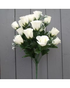 Artificial 45cm Ivory Rose Bush - 18 Heads