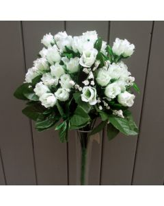 Artificial 35cm Mini Ivory Rose Bush