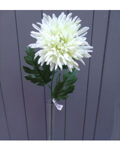 Artificial 59cm Single Ivory Chrysanthemum