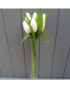 Artificial 32cm Ivory Tulips - Bunch of 6