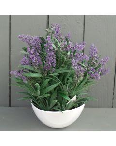 Artificial 27cm Lavender in White Bowl Arrangement