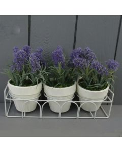 3 x Artificial Potted Lavender in Metal Stand