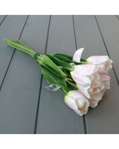 Artificial 40cm Light Pink Tulip Bunch - 6 Stems