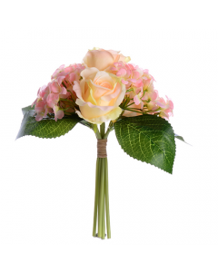 Artificial 30cm Light Pink Rose and Hydrangea Bunch