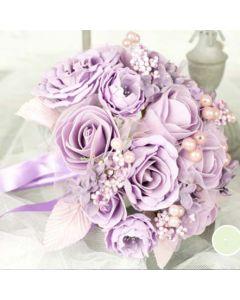 Artificial Lilac Rose Bridal Bouquet