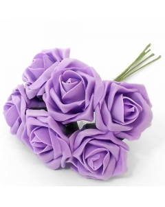Artificial Lilac Colourfast Roses - Bunch of 6