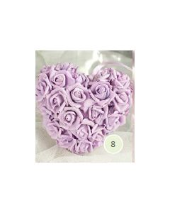 Artificial 18cm Lilac Foam Rose Heart