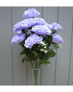 Artificial 45cm Lilac Carnation Bush - 18 Heads