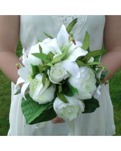 Artificial Ivory Lily and Peony Bouquet