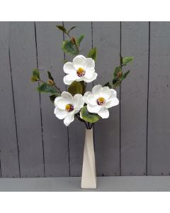 Artificial Ivory Magnolias in a Cream Twisted Ceramic Vase