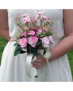 Artificial Pink Rose and Blossom Meadow Bouquet