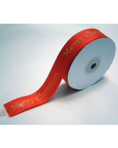"Full 25mm Roll of 25mm Red ""Merry Christmas"" Ribbon"
