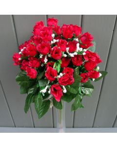 Artificial 35cm Mini Red Rose Bush