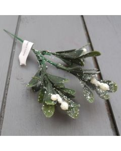 Artificial 20cm Frosted Mistletoe Pick