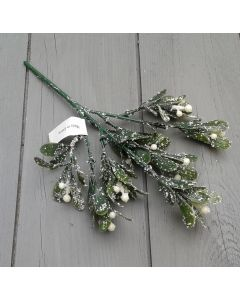 Artificial 24cm Frosted Mistletoe Spray