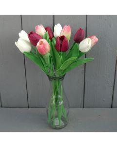 Artificial 34cm Pink, Burgundy and Ivory Tulips in a Glass Vase