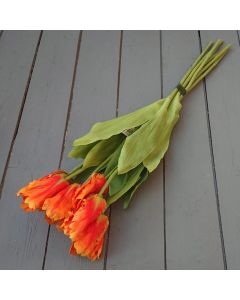 Artificial 65cm Orange Parrot Tulips – Bunch of 6