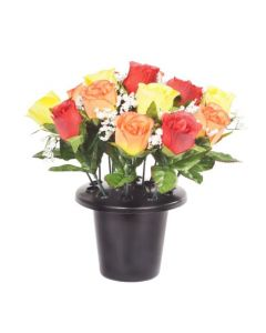 Artificial Yellow, Orange and Red Rose Grave Pot