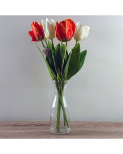 6 x Artificial Tulip Flowers with Vase