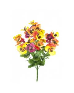 Artificial 48cm Orange, Yellow and Pink Pansy Bush