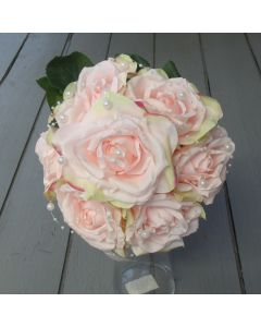 Artificial 29cm Medium Pink Rose and Pearl Bouquet