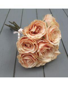 Artificial 40cm Peach Rose Bundle