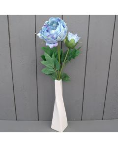 Artificial Light Blue Peony in Cream Vase