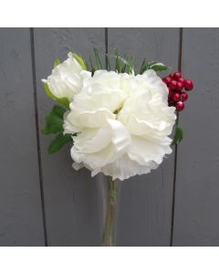 Artificial 25cm Ivory Peony Bunch