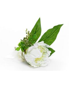 Artificial White Peony Buttonhole Corsage