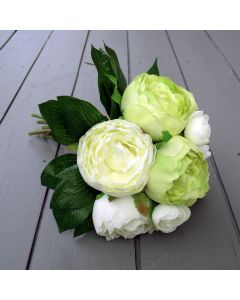Artificial 31cm Ivory and Green Peony Bunch