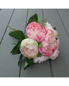 Artificial 31cm Vintage Pink Peony Bunch