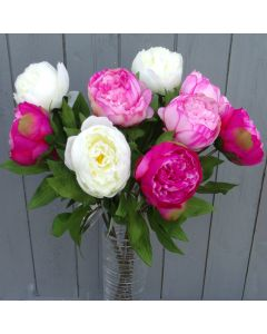 9 x Artificial Pink and Cream Peonies
