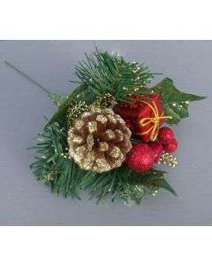Artificial Berry, Cone and Parcel Christmas Pick