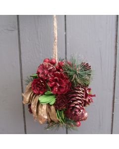 Artificial 13cm Glittered Pine Pomander