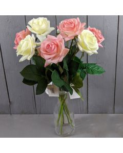 42cm Artificial Pink and Ivory Roses in a Glass Vase