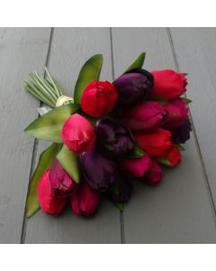 Artificial 29cm Dark Red, Pink and Purple Tulip Bunch