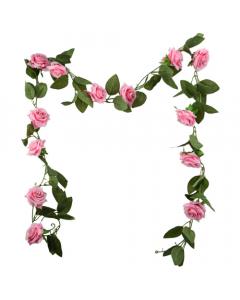 6ft Artificial Pink Rose Garland