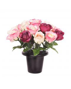Artificial pink rose grave pot
