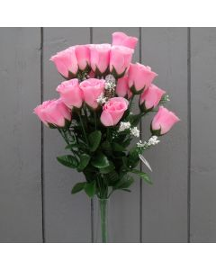Artificial 45cm Pink Rose Bush - 18 Heads