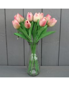 Artificial 34cm Light Pink Tulips in a Glass Vase