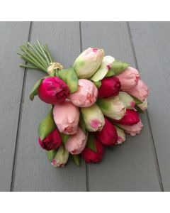 Artificial 29cm Pink and Ivory Tulip Bunch