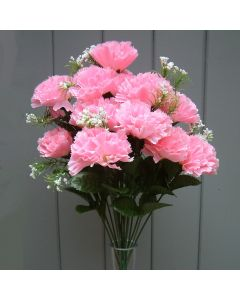 Artificial 45cm Pink Carnation Bush  - 18 Heads