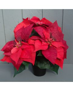 Artificial Red Poinsettia in Grave Pot