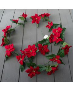Artificial Red Poinsettia Garland